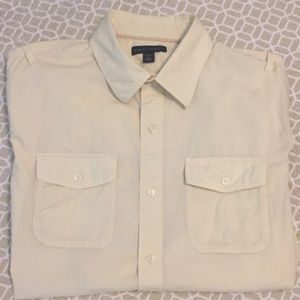BR pale yellow men's casual button up